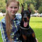 Добермана которого оставили одного в лесу, приютила в своём доме двенадцати летняя девочка.